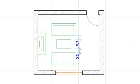 план мебели в гостинной кухне