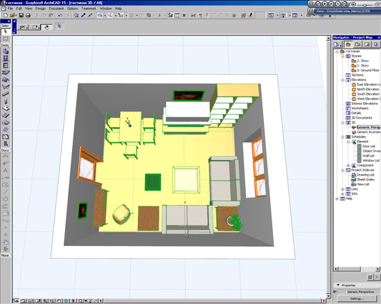планировка комнаты в 3d